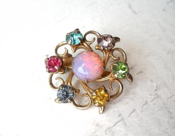 Vintage Brooch Multi Color Pink Opal & Rhinestones Goldtone