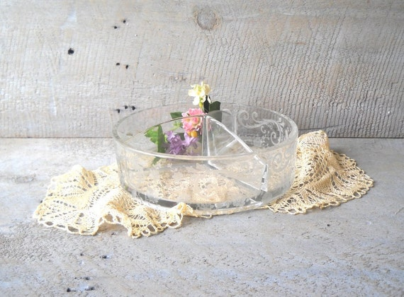 ON HOLD Vintage Cambridge Chantilly Candy Dish Depression Etched Divided