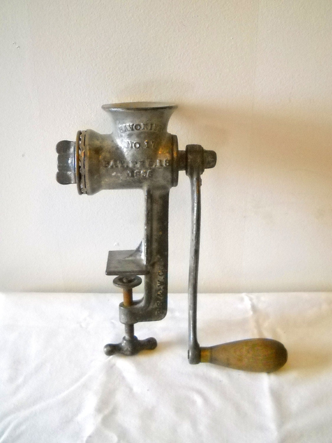 Antique Cast Iron Meat Grinder Patent Date 1896 No 17 P S And