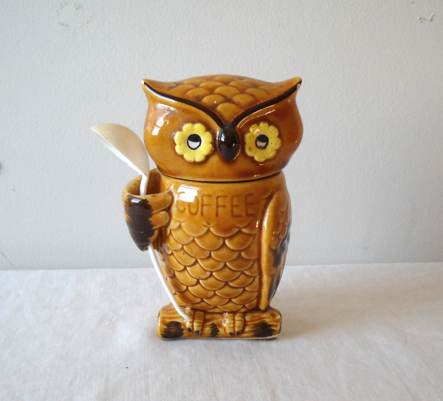 Vintage Owl Coffee Canister Ceramic Japan Kitsch