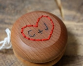 We Love Yo-Yos - Custom Heart Color and Wood Burned Initials