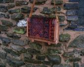 Purse carpet bag  antique rug  veg tan leather