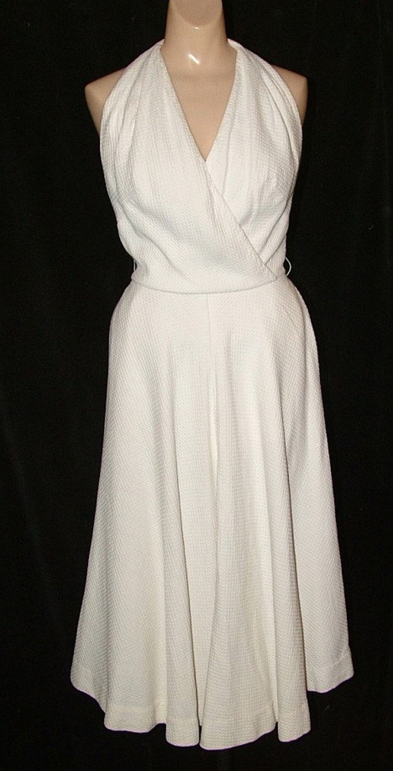 1950s White Cotton Marilyn Monroe Halter Dress Dance Sexy