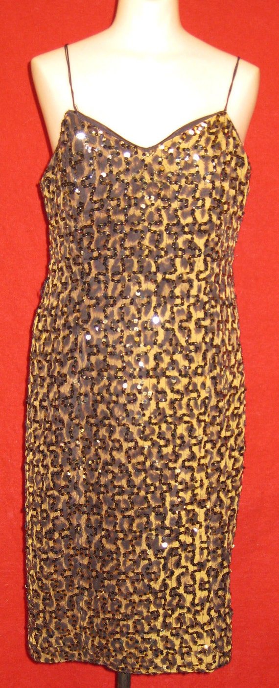 1970s Does 60s Hollywood Glamour Leopard Print Cocktail Dress Gold Sequins Plus Size 32 inch Waist