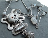 SKULL Necklace Silver stamped Sugar Skull And Bones Necklace Herkimer Diamond OOAK pendant OUTRAGEOUS Art Jewelry Statement piece Necklace
