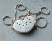 Heart Necklace Sterling Pierced Hollow form 3D Squiggles Arrows