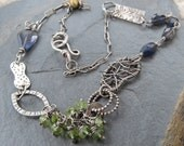 Funky Wire wrapped Silver Necklace Sterling stamped green blue Mixed Elements