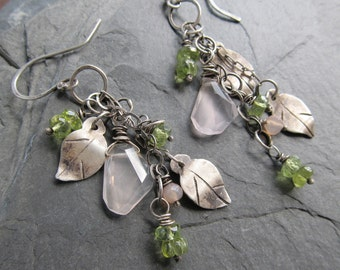 Silver Dangling Earrings Leaf flower Green Pink Botanical wire wrapped Gemstone cascade Dangling hanging Earrings