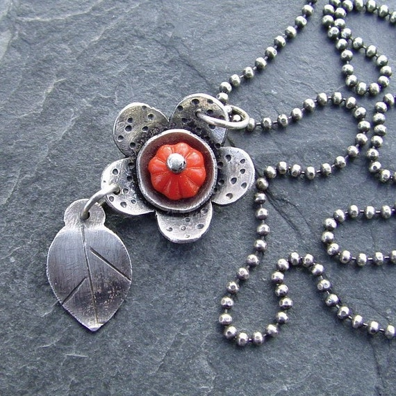 Silver Flower Necklace funky red charm