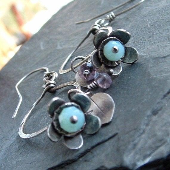 Hoop Earrings Wire Wrapped Silver Gemstone Flower Blue