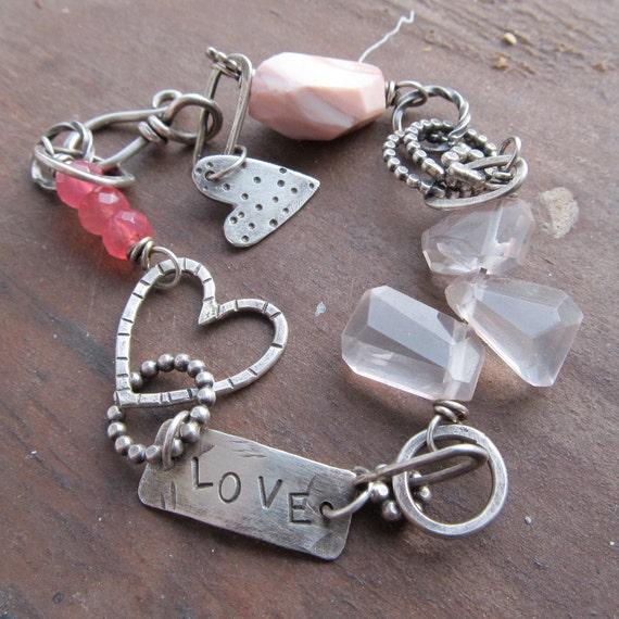 Silver Bracelet PINK gemstone stamped Silver Charm Bracelet Valentines Day Gift LOVE jewelry
