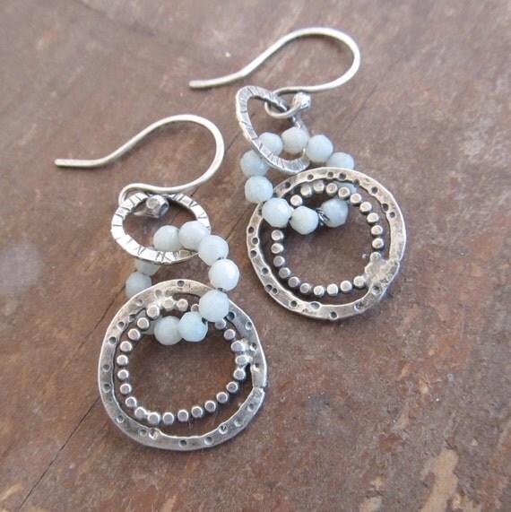 Sterling Silver Hoop Earrings Funky Stamped Dots Bubbles