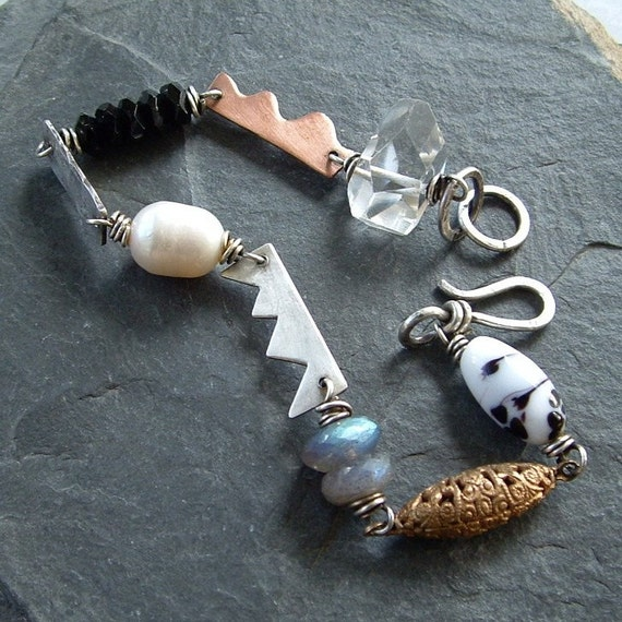 Funky Bracelet Black/White sterling pearl filigree labradorite mixed metal
