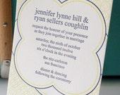 Venn letterpress invitation - lemon yellow and navy blue
