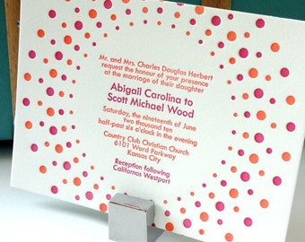 Candy dots letterpress wedding invitation - berry pink and tangerine - SAMPLE
