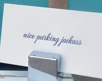 Letterpress nice parking cards - set of 20 - EXPEDITED SHIPPING!