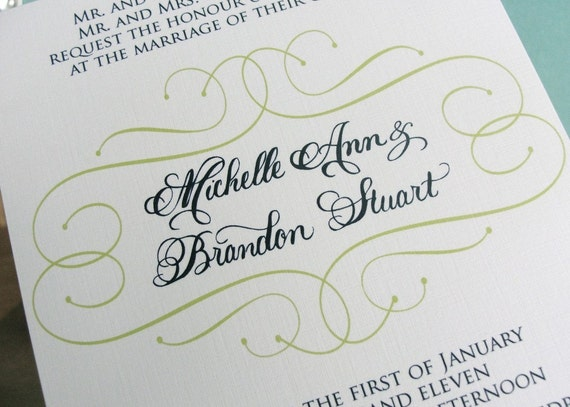 Preppy Navy and Lime green wedding invitations with custom calligraphy - sample