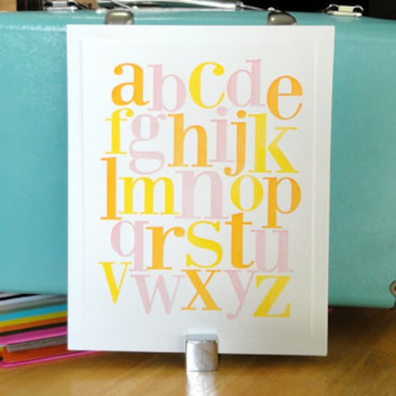 Letterpress alphabet print in yellow, orange and pink for Nursery or Child's room