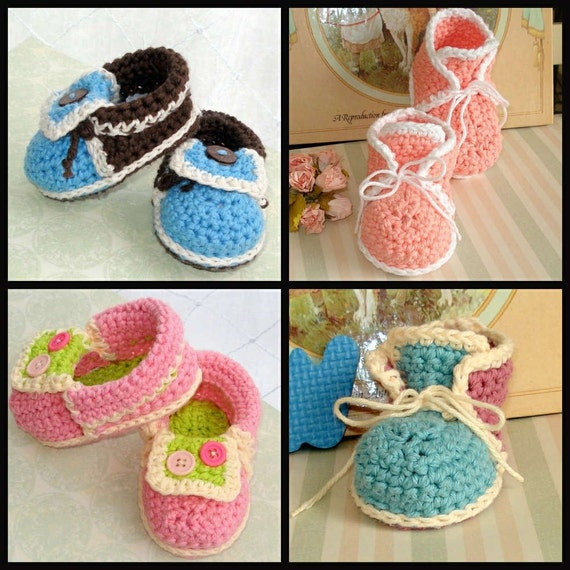 2 Patterns crochet High Tops and Moccasins baby by Genevive