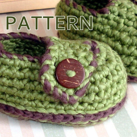 Pattern crochet baby booties button loafers by Genevive on ...