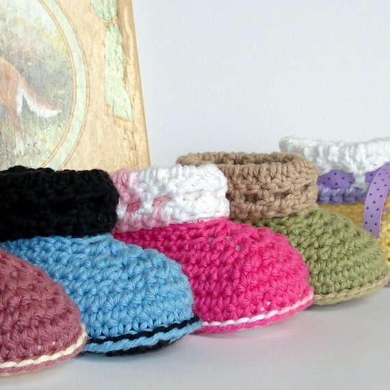 Crochet Cuffed Baby Booties Pattern : Instant Download Crochet Pattern Baby Cuffed Booties by ...