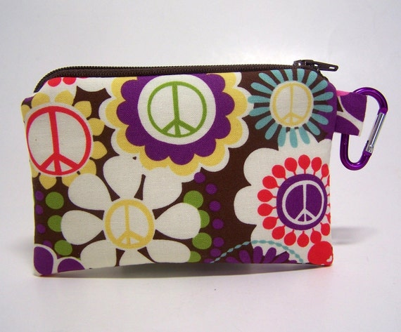 Clip Coin Purse Peace and Flowers