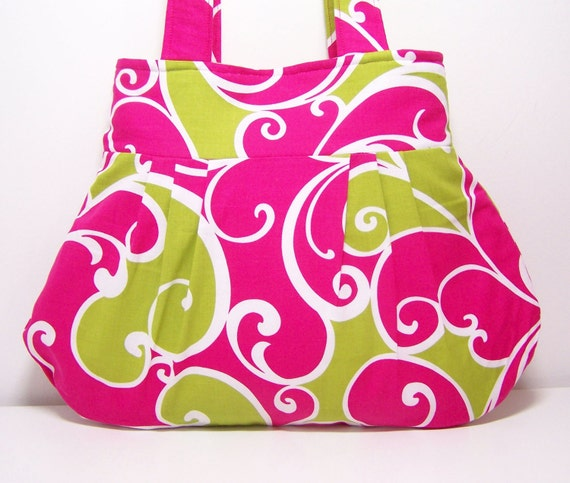 Pleated Purse Hot Pink and Lime Surf