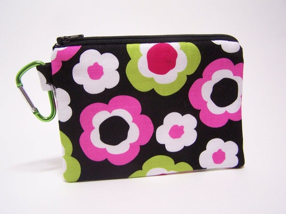 Funky Floral Carabiner Coin Purse