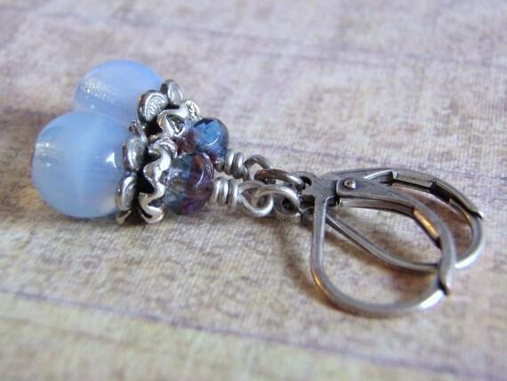 Violet Opal Earrings, Antique Silver, Lever Back Ear Wire