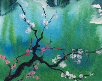 Moorish Garland - Watercolor Art Print Pink White Cherry Blossoms Green Blue Japanese Style Available in Paper and Canvas by Olga Cuttell
