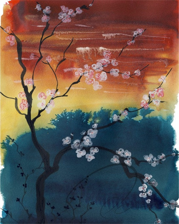 Dusk Haven - Watercolor Art Giclee Print Sunset Landscape Red Sky White Cherry Blossoms Available in Paper and Canvas by Olga Cuttell