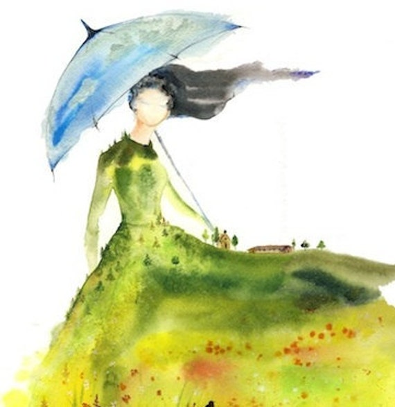 "5x7 signed Fine Art Print ""Lady of Glade"" spirit woman watercolor landscape Canadian prairies farmhouse poppies blue umbrella wind Oladesign"