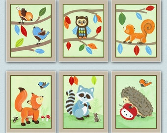 "Set of six 8x10"" Forest animal prints. Matches Treetop Friends bedding"
