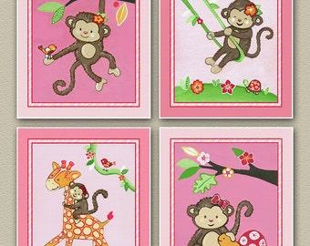 Set of four 8x10 Miss Monkey Nursery Art Prints