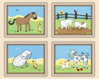 Set of four 8x10 Animal Acres, Farm Nursery Art Prints
