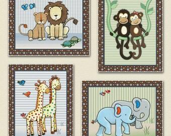 Set of four Jungle/Animal prints to match SS Noah - Noah's Ark