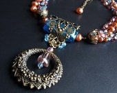 Art Nouveau necklace with vintage brass and wire wrapped beads,One of a kind,Bonjour Monsieur Mucha.