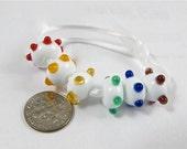 Rainbow bumpy glass beads-  set of 6