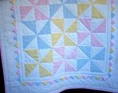 Pastel Pinwheel Quilt for Baby