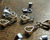 10 Silver Plated Bails With Closed Ring, For Pendants, Medium, 10 mm Long Each, Lead and Nickel Free