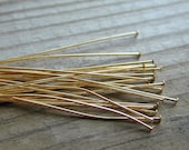 Gold Plated Headpin, 3 Inches, 22 Guage Wire, Set of 20