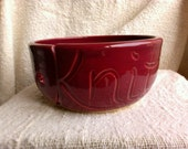 Yarn Bowl for Knitters, Wheel Thrown, Hand Carved Stoneware Pottery, Engraved with the word Knit, Burgundy