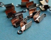 20 Solid Copper End Cord Fasteners 2.5MM Inside Opening X 7 mm Long, Leather or Cord Crimp, Lead and Nickel Free