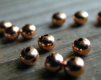 72 Solid Copper 4 mm Smooth Rondelle Beads with 1mm Hole, Lead and Nickel Free
