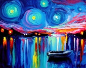 Midnight Harbor XXVI - 16x20 abstract boats signed Lustre print reproduction by Aja ebsq
