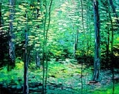 Timberland - 22x28 impasto spring forest landscape abstract original painting by Aja