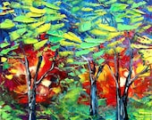 Original landscape painting abstract oil trees by Aja