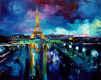 Parisian Night - 8x10 abstract Eiffel Tower print reproduction by Aja