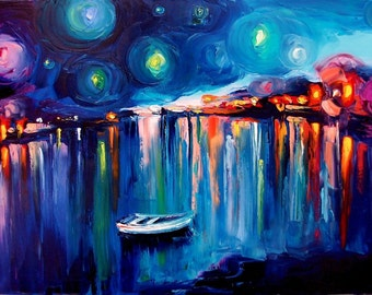 Midnight Harbor XXII - 24x36 abstract boats signed fine art print reproduction by Aja ebsq