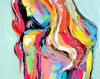 Femme 92 - Large 18x24 abstract nude signed print reproduction by Aja ebsq